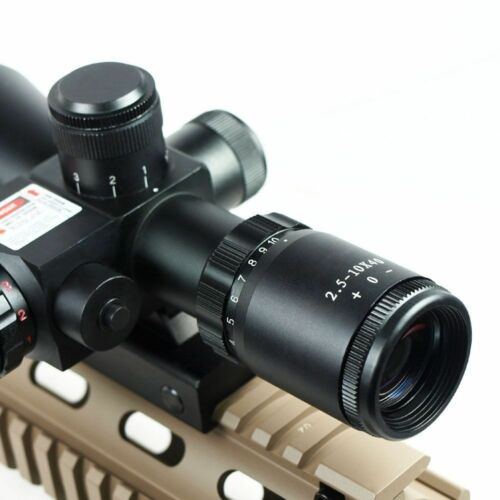 2.5-10x40 Tactical Rifle Scope Red Green Mil-dot illuminated Red Laser Mount