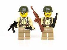 Tan WW2 Minfigures US Army Soldiers (SKU56) made with real LEGO® minifig