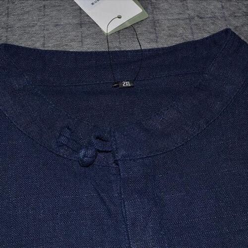 Retro Chinese Style Men Cotton Linen Shirt Hemp Loose Long Sleeves Tops T-shirt
