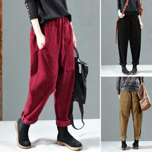 Mode-Femme-Couleur-Unie-Pantalon-Decontracte-lache-Deux-Poche-Style-Harlan-Plus