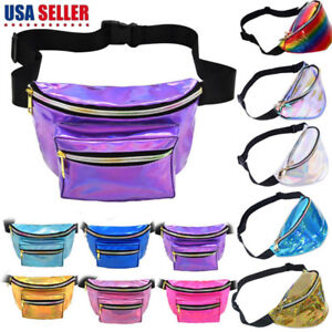 Women-Men-Iridescent-Holographic-Fanny-Pack-Shiny-Waist-Bag-Hip-Purse-Travel-Bag