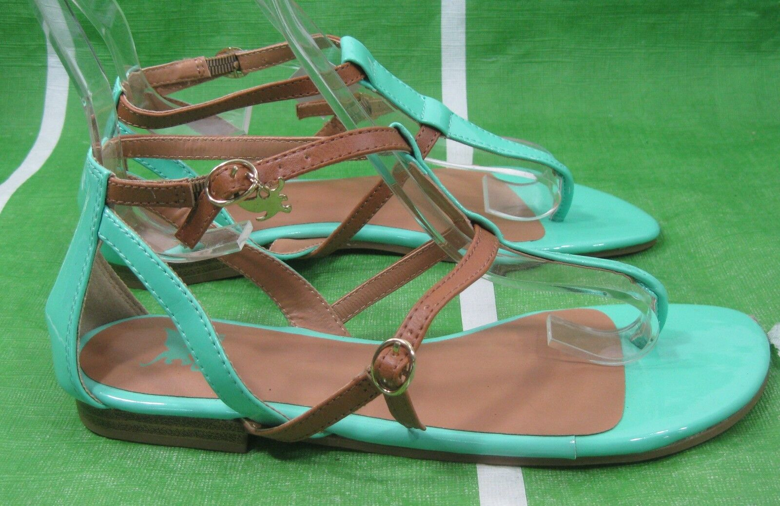 new ladies Womens GREEN /Skintone Summer  Size Sexy Sandal  shoes Size  6 ee5455