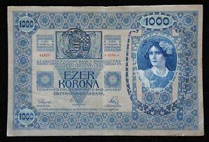Austria-Hungary-1902-1000-Ezer-Korona-Tausend-Kronen-Stamp-Transylvania-P-8