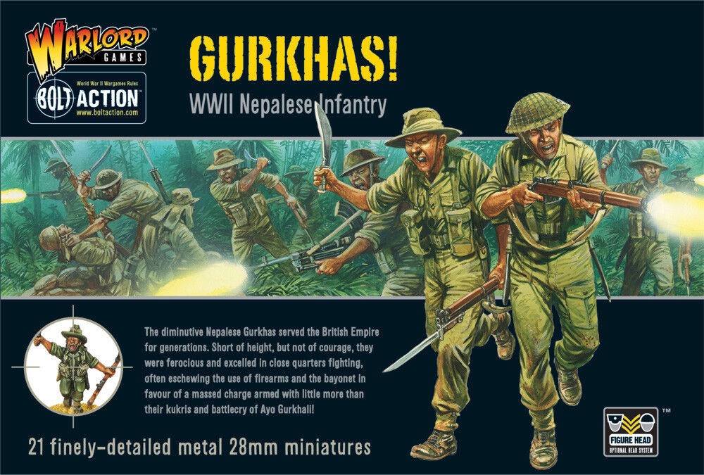 GURKHAS  WWII NEPALESE INFANTRY - BOLT ACTION - WARLORD GAMES WW2 28mm WARGAMING