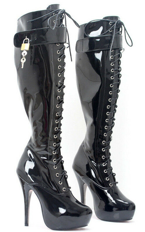 Grandes zapatos con descuento Black PVC knee High LOCKING boots, BALLET BOOTS,15CM HEALS, sissy maid, corset