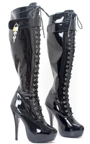 in scarponcini da chiusura ginocchio alti balletto Stivali PVC Maid Sissy 15 a nero cura corsetto con di cm qRXwzx8xC