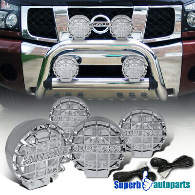 2PC 6 CHROME OFF ROAD WORK FOG LIGHT MESH GUARD W// H3 BULBS+SWITCH+WIRES KIT