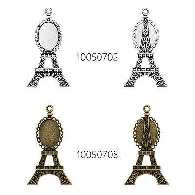 DIY Alloy Pendant Cabochon Settings Charm Tray Eiffel Tower Pendant Tray 18*25MM