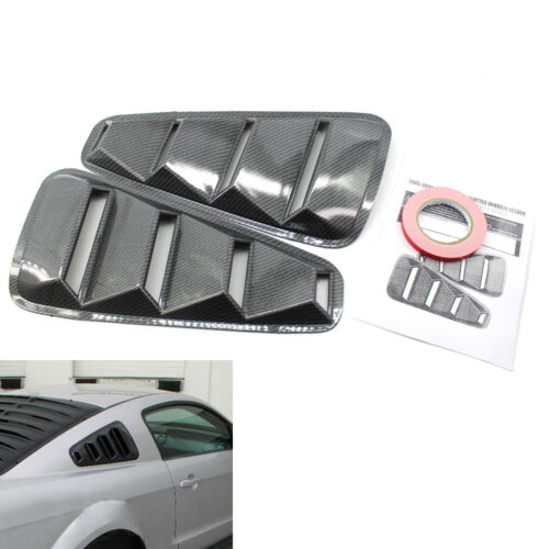For 05-09 Ford Mustang Carbon Fiber Vent Quarter Side Window Louver Cover w//Tape