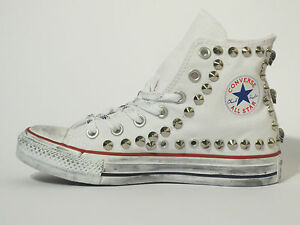 Converse all star Hi borchie e teschi scarpe donna uomo Bianco artigianali