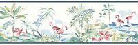 Lagoon Wallpaper Borders - 3 Colors - Coastal - Beach - Flamingos - Palms