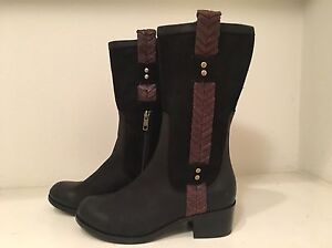 UGG Jaspan Black Leather & Suede Riding Boots Size 5 #1004206 ...