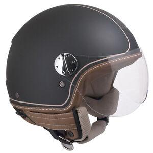 Casco-helmet-jet-CGM-SANTA-MONICA-Nero-Opaco-Black-Beige-Vintage-Retro-Custom