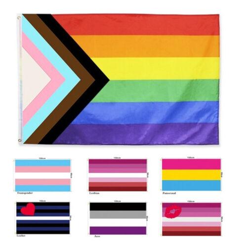 Progress Pride Rainbow Flag 3x5 ft LGBTQ Gay Lesbian Trans People of Color
