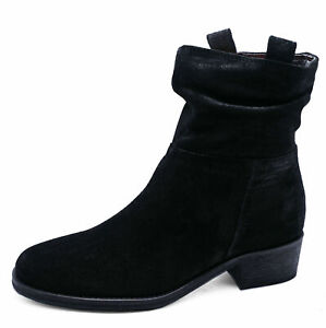 LADIES-GENUINE-LEATHER-BLACK-ZIP-UP-ANKLE-CALF-SLOUCH-BOOTS-COMFY-SHOES-UK-2-9