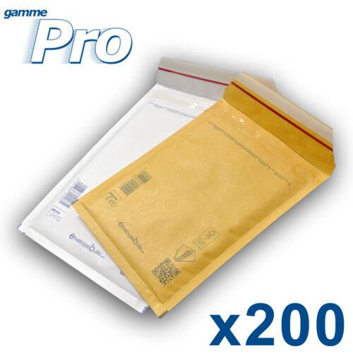 Lot de 200 enveloppes bulles PRO 10 formats au choix blanches ou marron