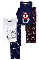 Ladies Pyjamas New Womens Long Sleeved Xmas Fleece Penguin Star PJ Set UK 8-22