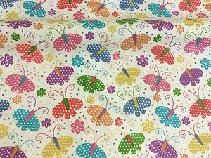 Polycotton-Fabric-NEW-Craft-BUTTERFLY-FLORAL-Metre-Material-Childrens