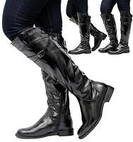 Ladies Women Calf Knee High Block Low Mid Heel Zip Biker Riding Boots Shoes Size