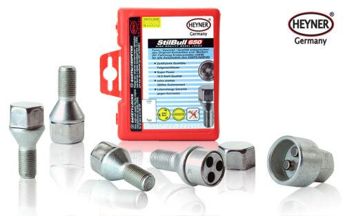 Fiat Punto 2006 wheel locking bolts /& nuts M12x1,5 anti-theft Grande /& Evo