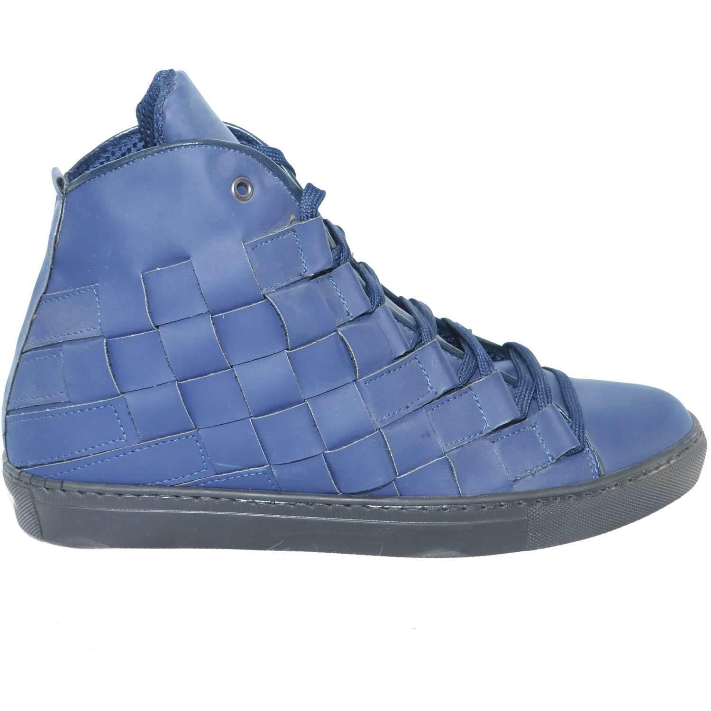 Sneakers alta uomo pelle gommato intreccio blu matto moda glamour intreccio gommato a mano fondo a ac8978