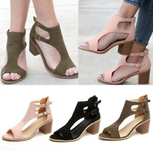 Women-Ladies-Spring-Summer-Sandals-Fish-Mouth-Hollow-Out-Roma-Shoes-Size