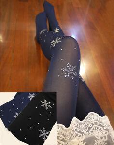 Sparkly-Diamante-Snowflake-Design-Tights-Winter-Evening-Event-Lycra-Spandex