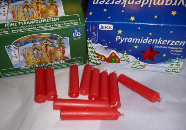 Kerze feine Pyramide-Kerze Farbe: rot Höhe: 7,5 cm Ø 1,4 cm >> 12 Stück NEU