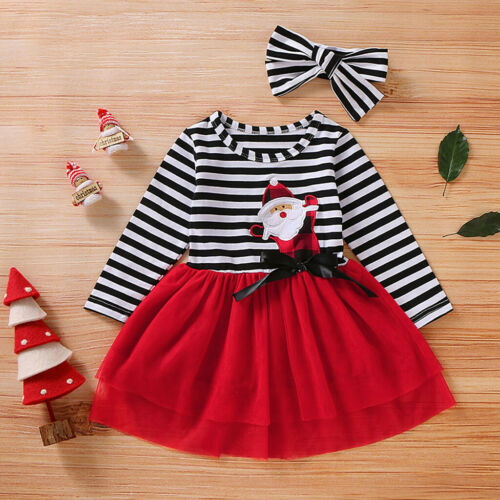 Toddler Baby Girls Christmas Santa Striped Print Tulle Dress+Headband Outfits