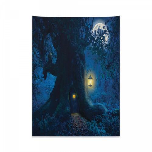 Navy blau Wandteppich und Tagesdecke Alter Baum in Woods Druck
