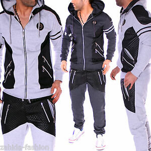 surv tement homme jogging pantalon veste costume de sport capuche look cuir ebay. Black Bedroom Furniture Sets. Home Design Ideas