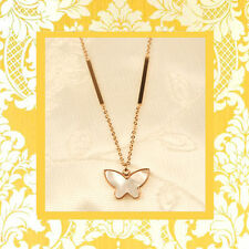 """CC20140 - Eye catching """"rose gold"""" stainless steel pendant with little butterfly"""