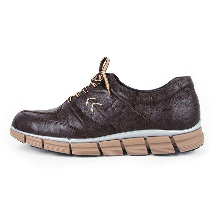 Men's u line stitch geometric lace up wrinkle brown leather fashion sneakers