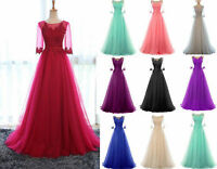 Long Lace Tulle Bridesmaid Prom Dress Formal Wedding Evening Party Gown Size6-18