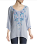Beautiful-JOHNNY-WAS-Floral-Embroidered-BLUE-MOON-Button-Neck-Tunic-S-228 thumbnail 4