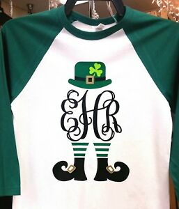 Leprechaun-Monogram-Adult-3-4-length-Raglan-Sleeve-T-Shirt