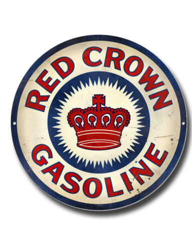 """RED CROWN GASOLINE 11/"""" HIGH GLOSS FINISH METAL ROUNDEL SIGN.GARAGE OIL SIGN."""