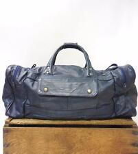 VINTAGE Large Oversize Navy Blue Leather Travel Duffel Weekender Holdall Bag