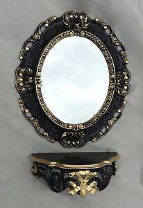 Espejo De Pared Antiguo Ovalado Negro Oro 45x37 Baño Barroco Oval Spiege Arte Y Antigüedades Espejos