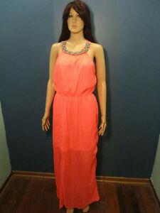 XL bright coral pink RETRO empire waist maxi dress - braided collar - unbranded