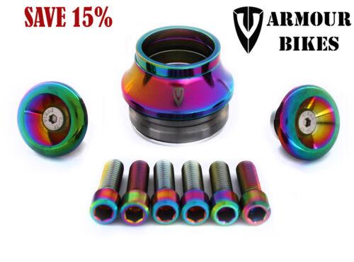 Stem Bolts 15/% OFF!!! Headset Set of Armour Bikes Oil Slick BMX Parts Bar Ends