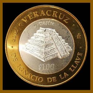 Mexico-100-Pesos-Silver-Center-Coin-2007-Bimetallic-El-Tajin-Unc