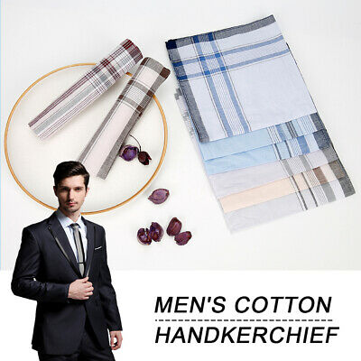 Mouchoirs 12pc Plaine Homme x 38cm Cadeau 100/% Coton Poche Carrée Hankie Hanky G