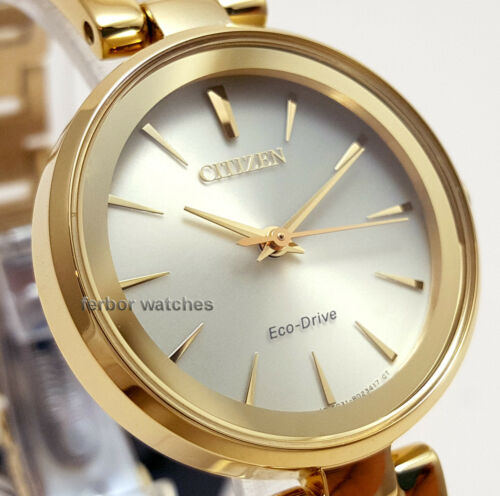 CITIZEN LADY ECO DRIVE WHITE FACE GOLDEN STAINLESS STEEL EM0632-81P