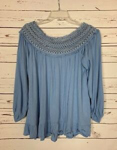 Umgee-USA-Boutique-Women-039-s-Size-S-Small-Blue-Lace-Cute-Fall-Top-Blouse-Shirt