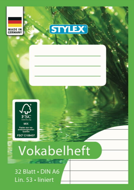 5 Vokabelhefte je 32 Blatt liniert DIN A6 Lineatur 53 Vokabel Heft Vokabelheft