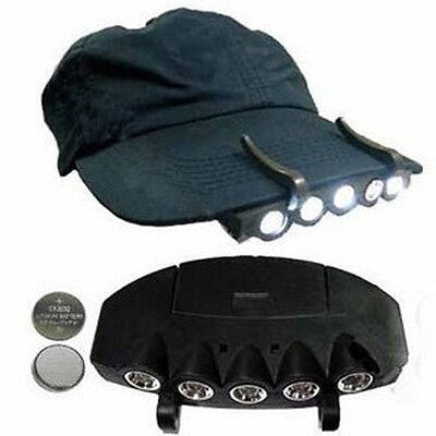 5 LED CAP HAT BRIM CLIP LAMP HEAD LIGHT HEADLIGHT HEADLAMP CAMPING HIKING FISHIN