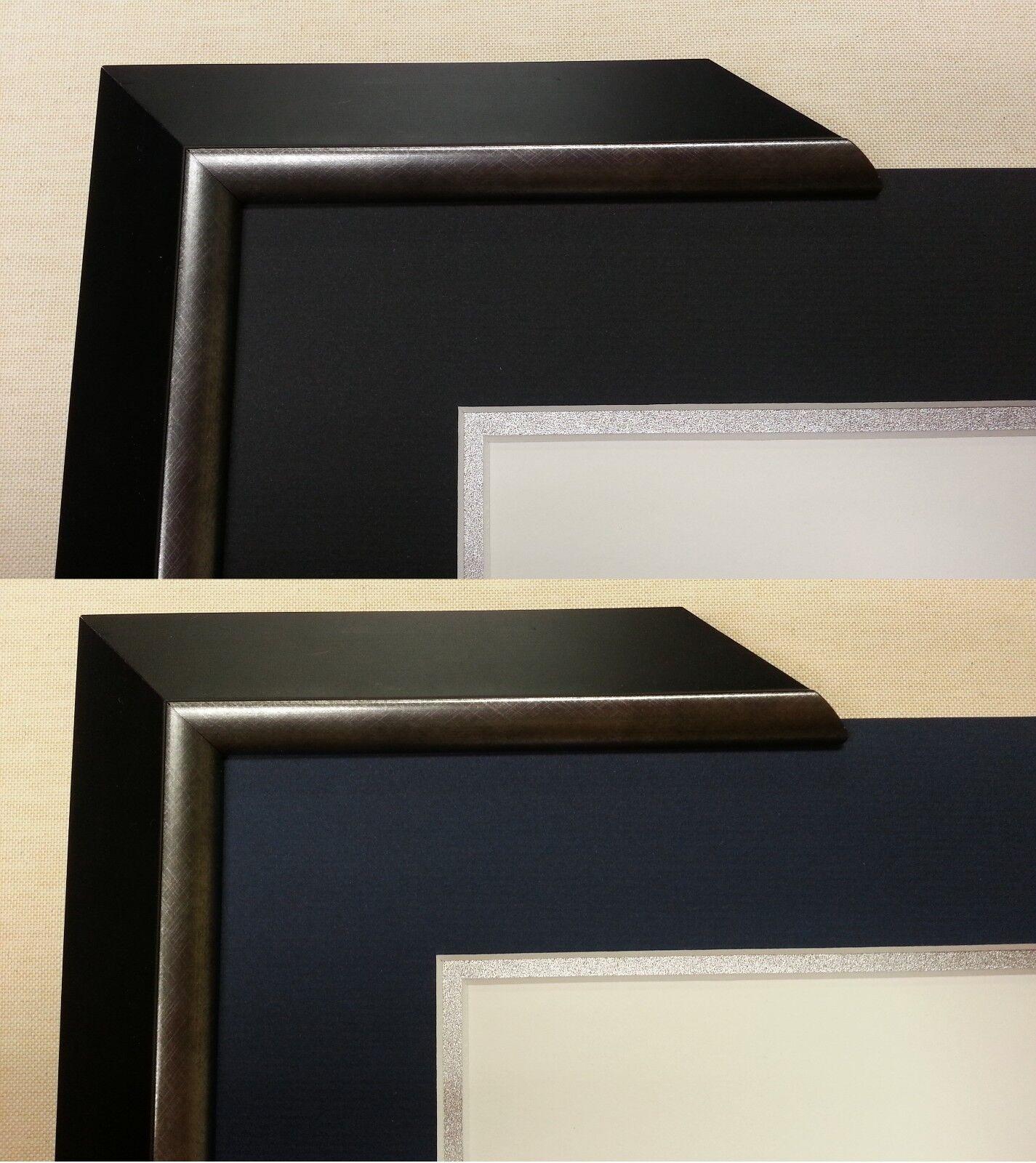 CUSTOM MATTED Black Navy Blue Silver Diploma Certificate Frame ...