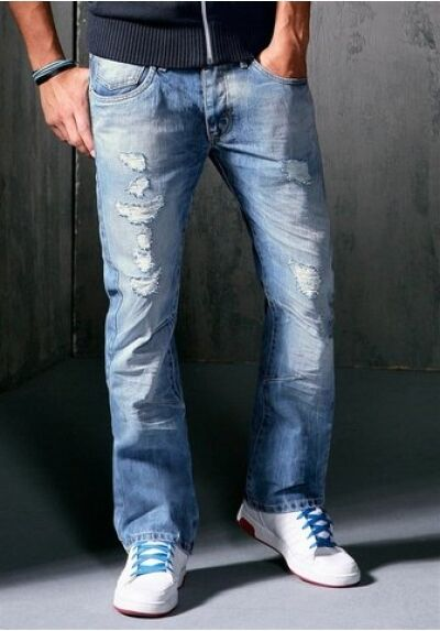 Gsd Jeans Nuovo W31 L32 Destroyed Uomo Dritto Pantaloni Blu Luminoso Usato
