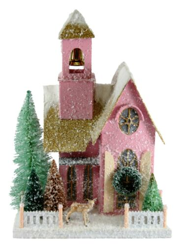 FROSTED PINK ABODE CHRISTMAS CARDBOARD GLITTER HOUSE HOU-271 BY CODY FOSTER